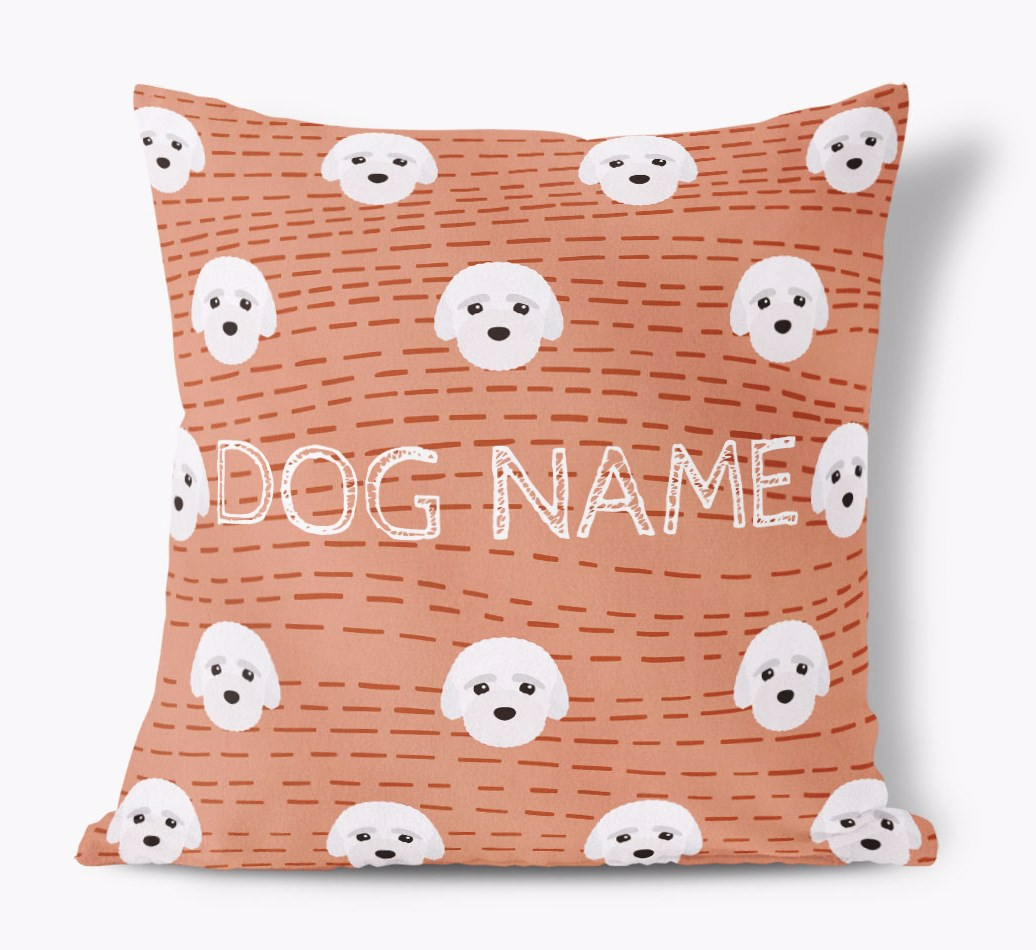Front view of {colour} personalized Bich-poo Yappicon Soft Touch Pillow
