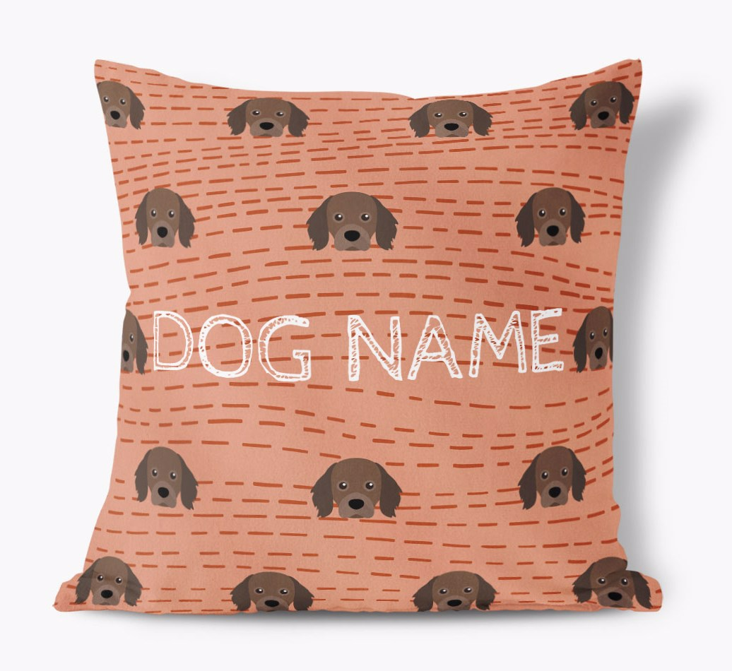 Front view of {colour} personalized Cavapom Yappicon Soft Touch Pillow