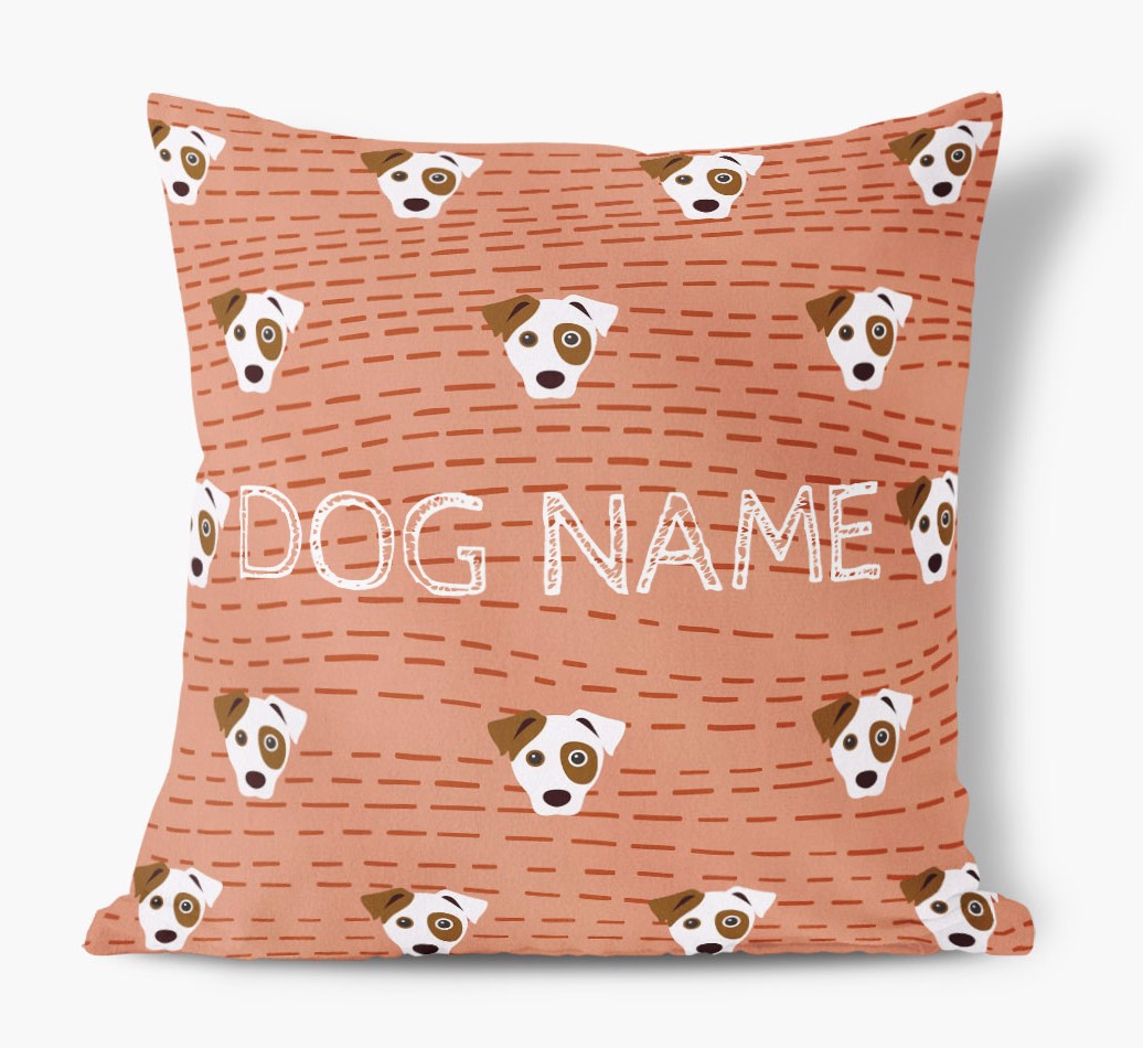 Front view of {colour} personalized Dog Yappicon Soft Touch Pillow