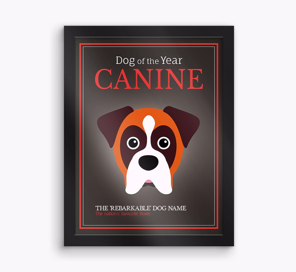 Personalised 'Dog of the Year' Boxer Framed Print - Black Frame
