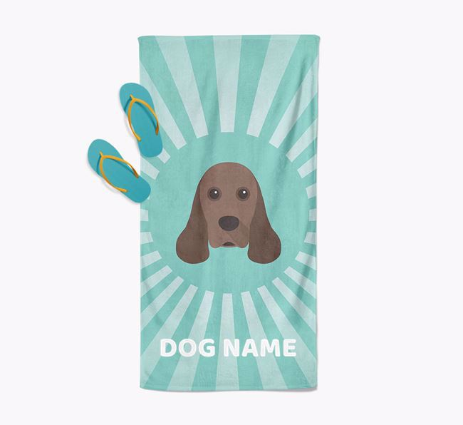 Personalised Pool Towel with American Cocker Spaniel Icon
