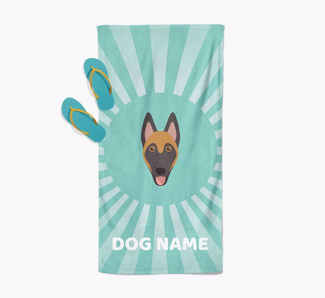 Personalised Pool Towel with Belgian Malinois Icon