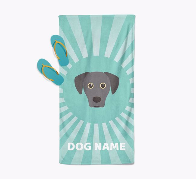Personalised Pool Towel with Blue Lacy Icon