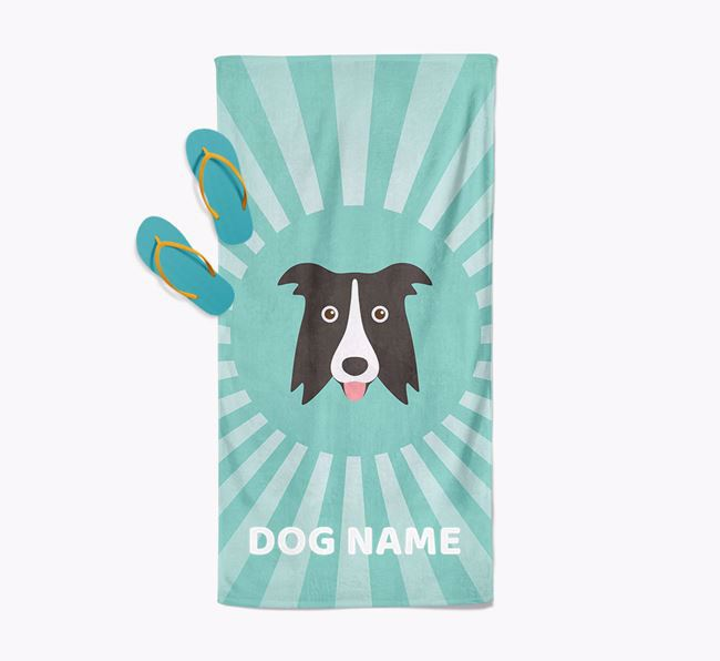 Personalised Pool Towel with Border Collie Icon