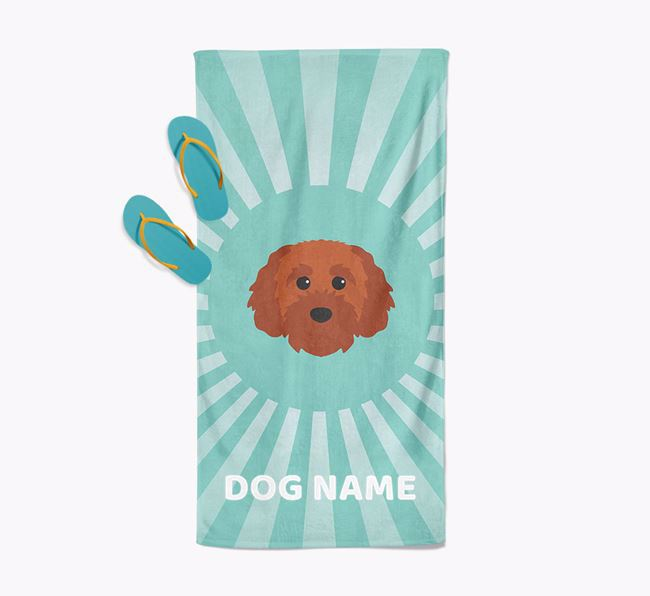 Personalised Pool Towel with Cavapoochon Icon