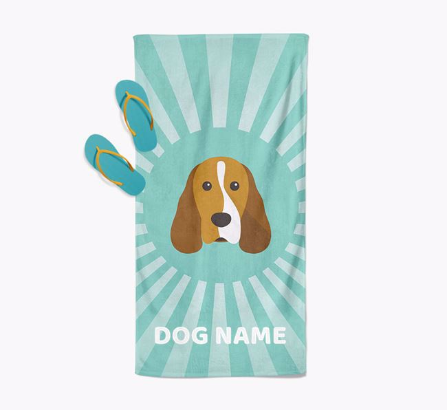Personalised Pool Towel with Cocker Spaniel Icon