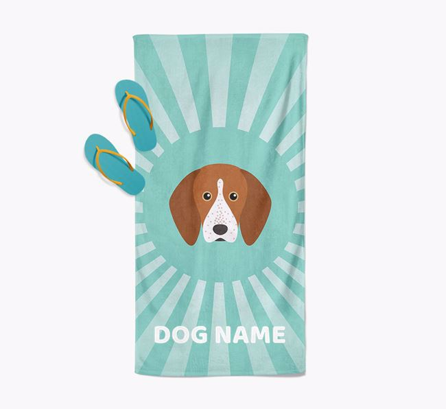 Personalised Pool Towel with English Coonhound Icon