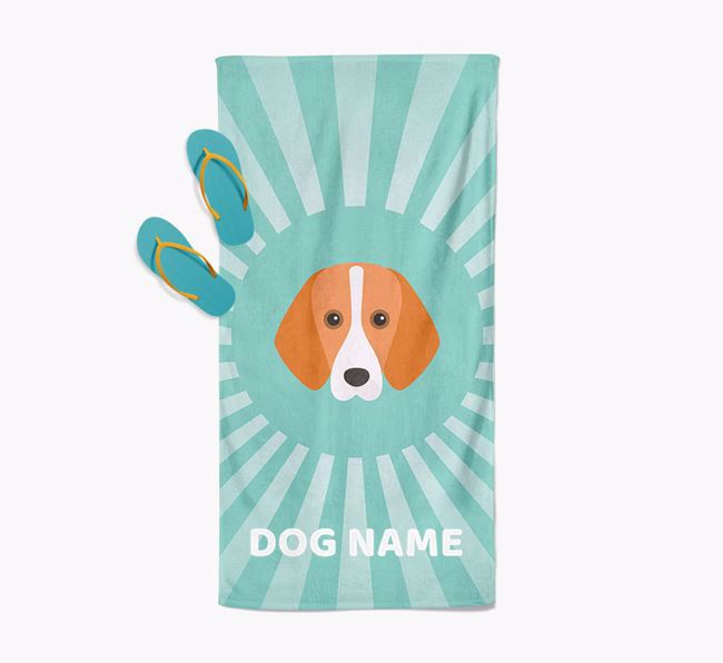 Personalised Pool Towel with Foxhound Icon