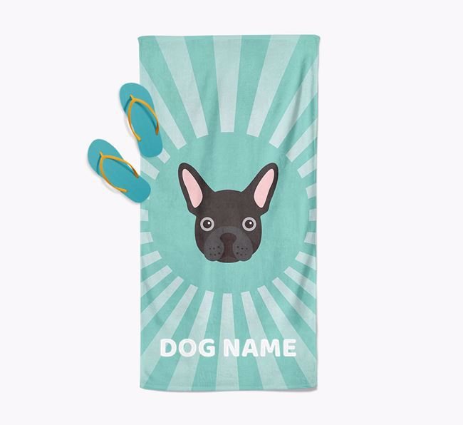 Personalised Pool Towel with French Bulldog Icon