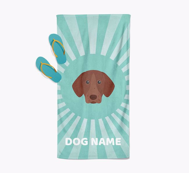 Personalised Pool Towel with German Shorthaired Pointer Icon