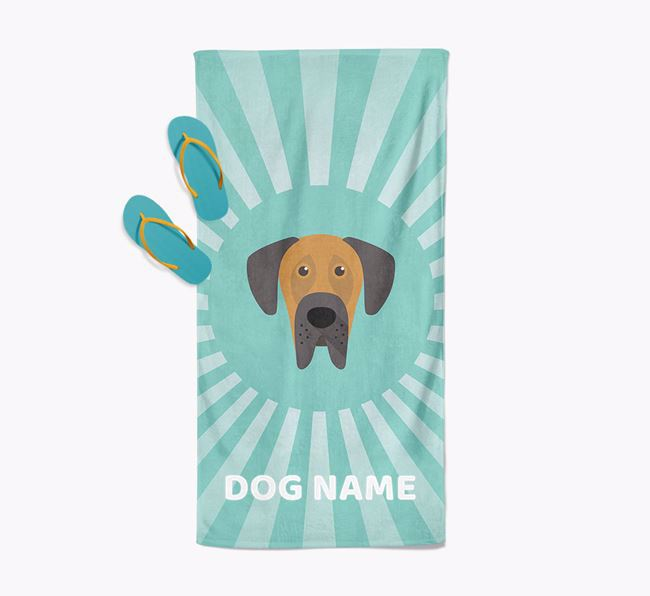 Personalised Pool Towel with Great Dane Icon
