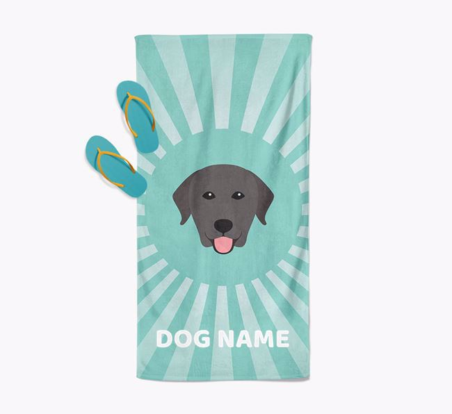 Personalised Pool Towel with Labrador Retriever Icon
