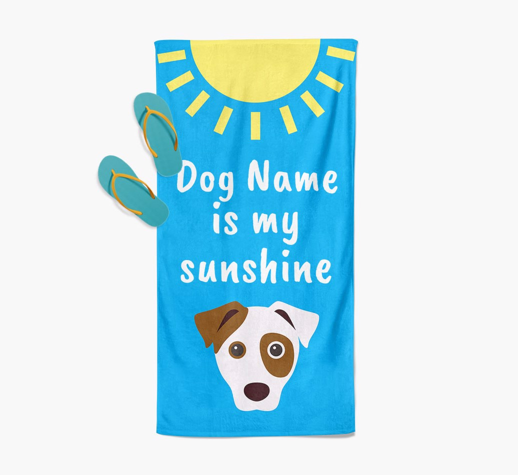 Dog Personalised Pool Towel '{dogsName} is my sunshine' with slippers