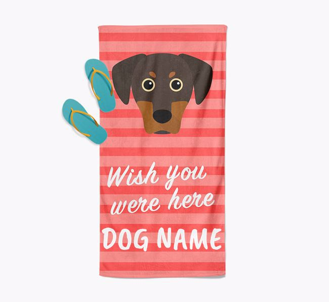 Personalised 'Wish you were here' with Blue Lacy Towel