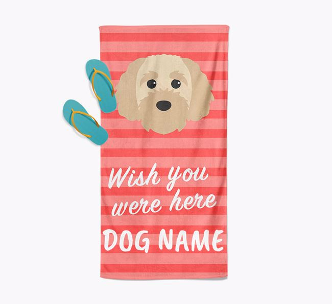 Personalised 'Wish you were here' with Cavapoochon Towel