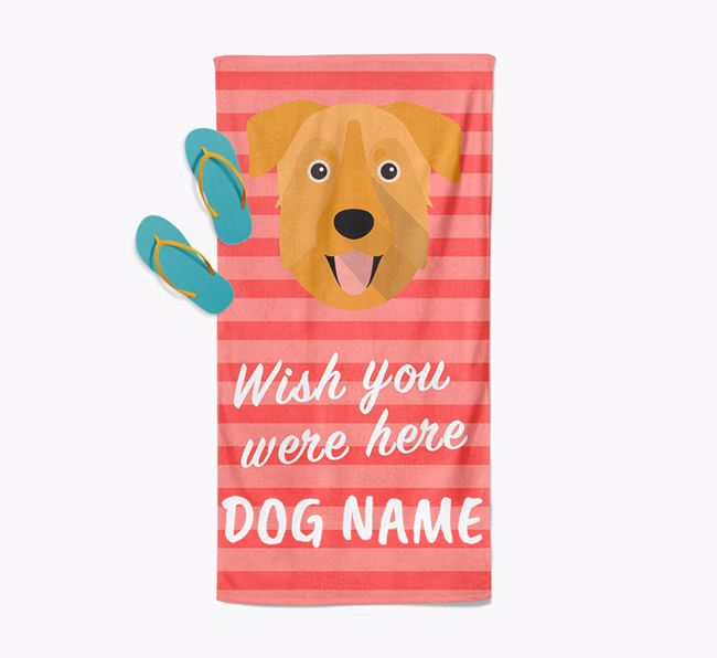 Personalised 'Wish you were here' with Chinook Towel