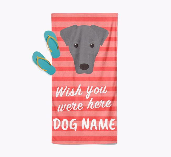 Personalised 'Wish you were here' with Dobermann Towel