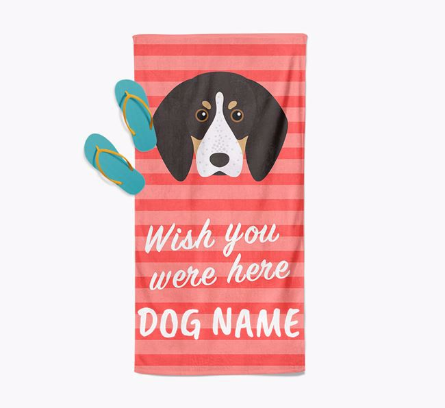 Personalised 'Wish you were here' with English Coonhound Towel