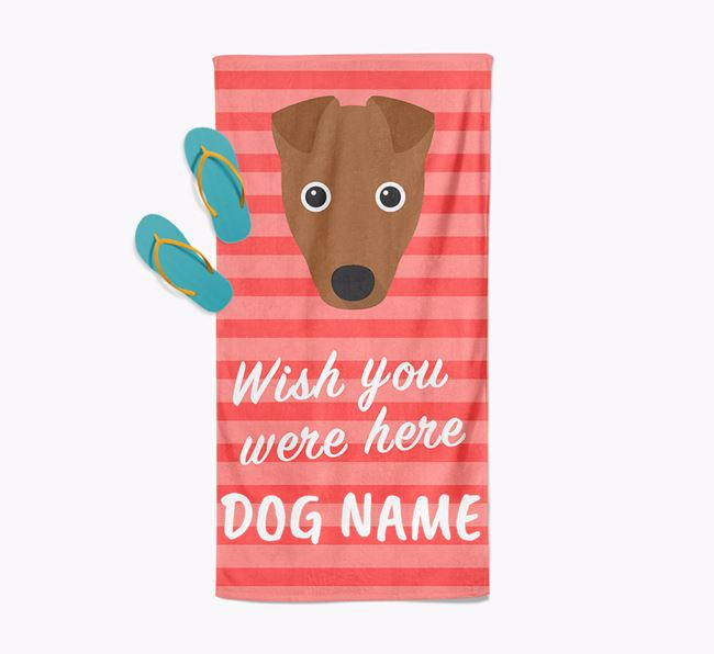 Personalised 'Wish you were here' with Fox Terrier Towel