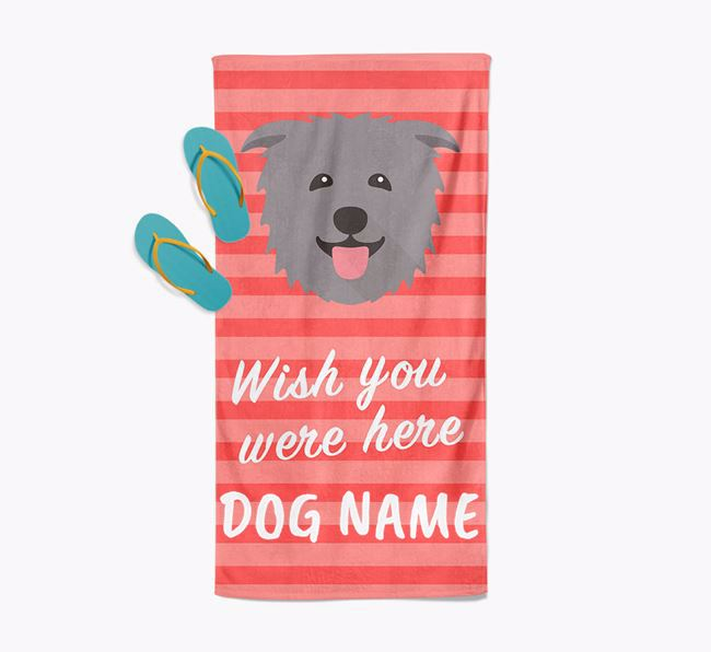 Personalised 'Wish you were here' with Glen Of Imaal Terrier Towel
