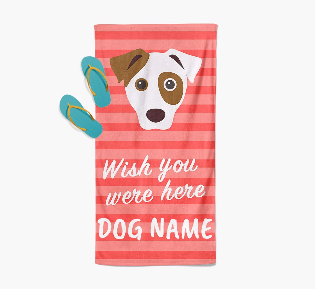Personalised Pool Towel 'wish you were here' with Dog Icon Beach Towel with slippers