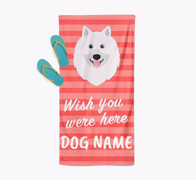 Personalised 'Wish you were here' with Keeshond Towel