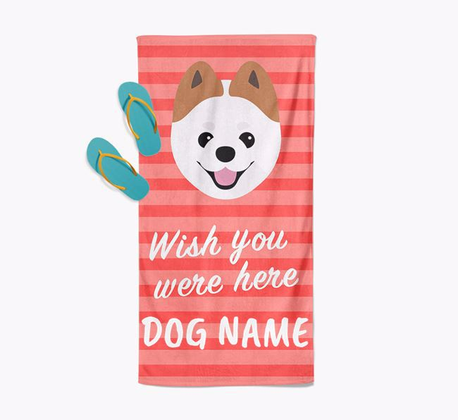 Personalised 'Wish you were here' with Pomeranian Towel