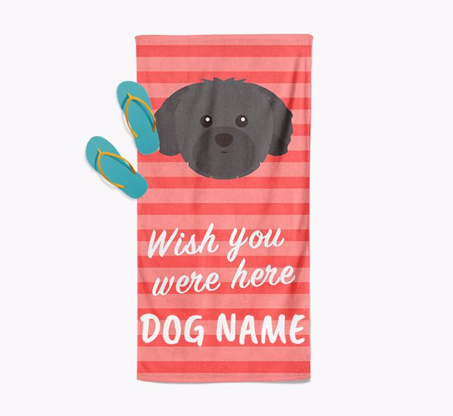 Personalised 'Wish you were here' with Shih Tzu Towel