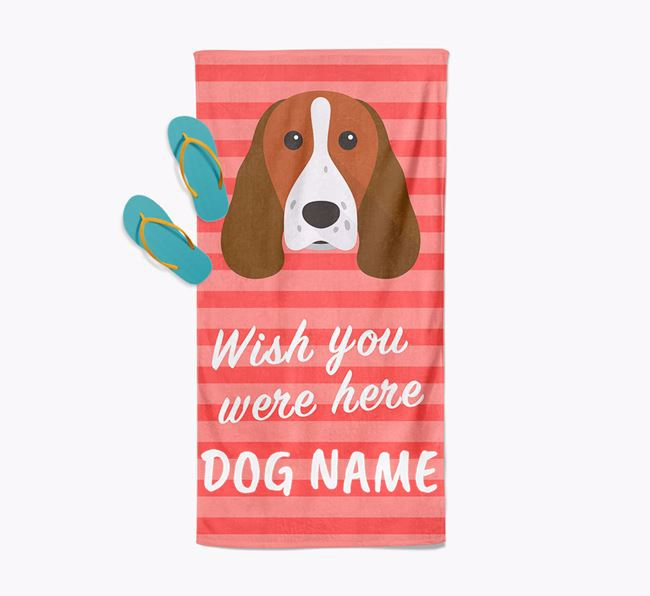 Personalised 'Wish you were here' with Springer Spaniel Towel