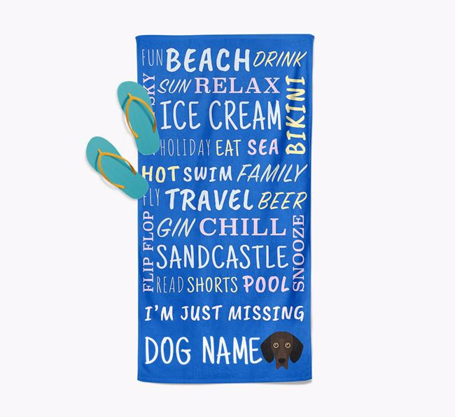Personalised 'Missing Your Dog' with Bassador Icon Pool Towel