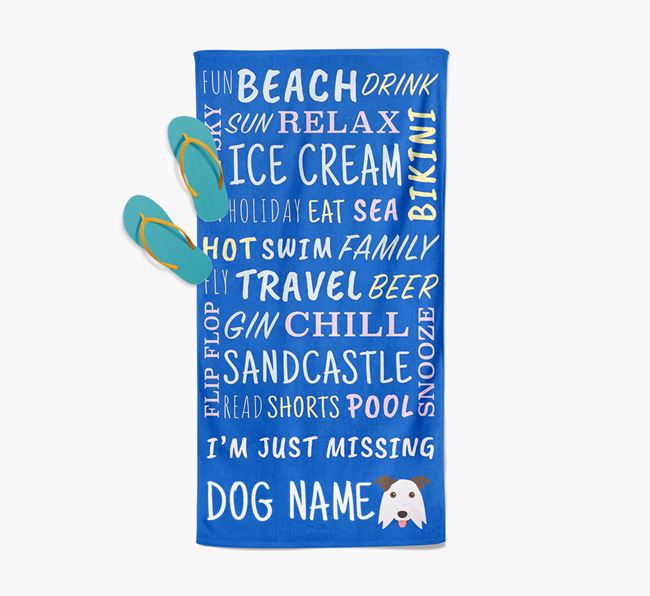 Personalised 'Missing Your Dog' with Border Collie Icon Pool Towel
