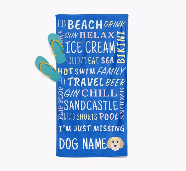 Personalised 'Missing Your Dog' with Cavapoochon Icon Pool Towel