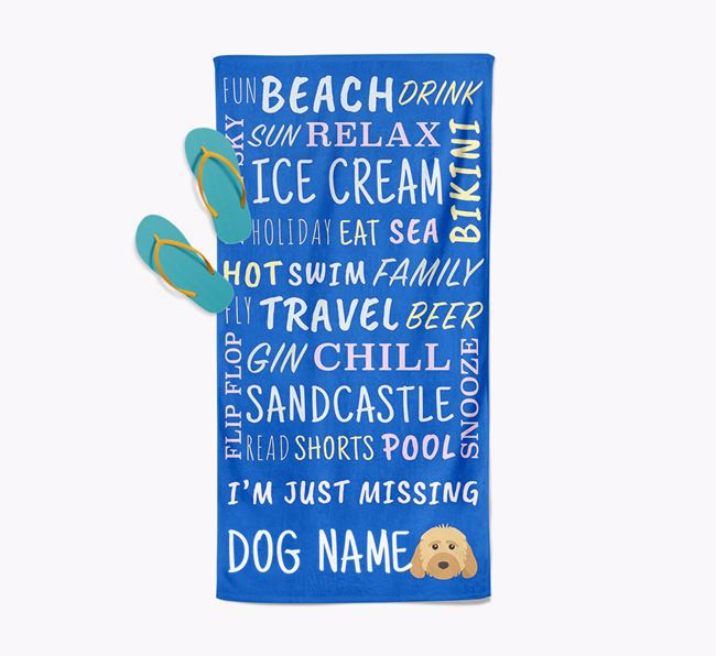 Personalised 'Missing Your Dog' with Dog Icon Pool Towel