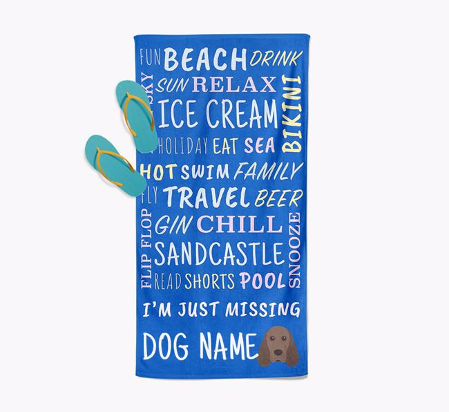 Personalised 'Missing Your Dog' with Cocker Spaniel Icon Pool Towel