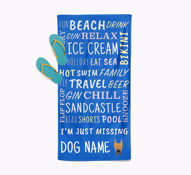 Personalised 'Missing Your Dog' with Great Dane Icon Pool Towel