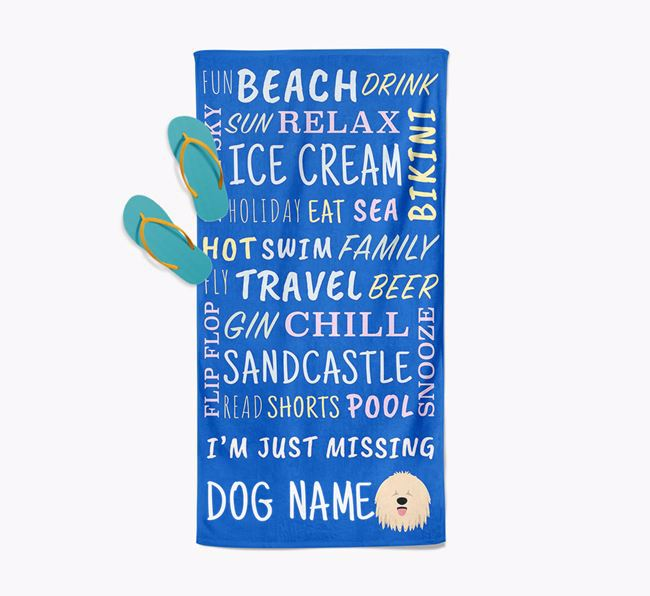 Personalised 'Missing Your Dog' with Komondor Icon Pool Towel