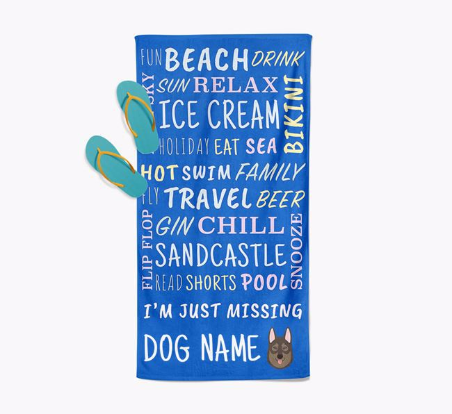 Personalised 'Missing Your Dog' with Tamaskan Icon Pool Towel