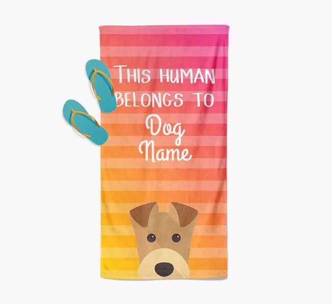 Personalised Pool Towel 'This Human Belongs To Your Dog' with Airedale Terrier Icon