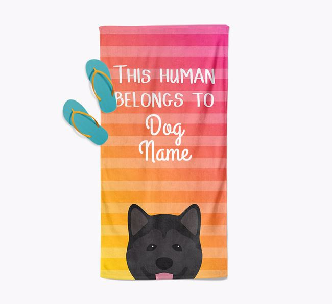 Personalised Pool Towel 'This Human Belongs To Your Dog' with Akita Icon