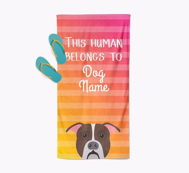 Personalised Pool Towel 'This Human Belongs To Your Dog' with American Bulldog Icon