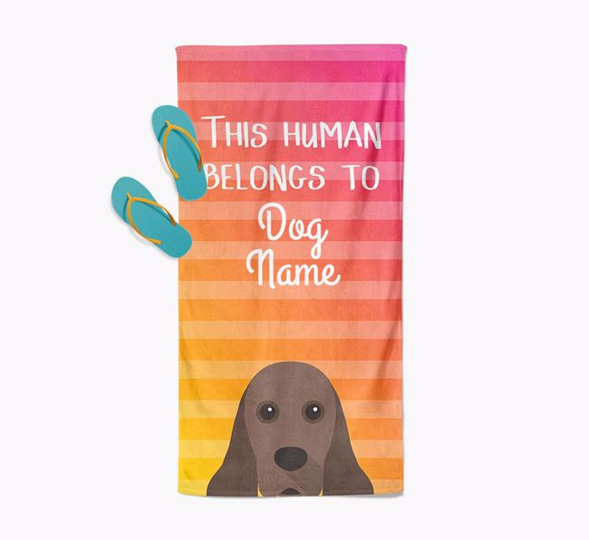 Personalised Pool Towel 'This Human Belongs To Your Dog' with American Cocker Spaniel Icon