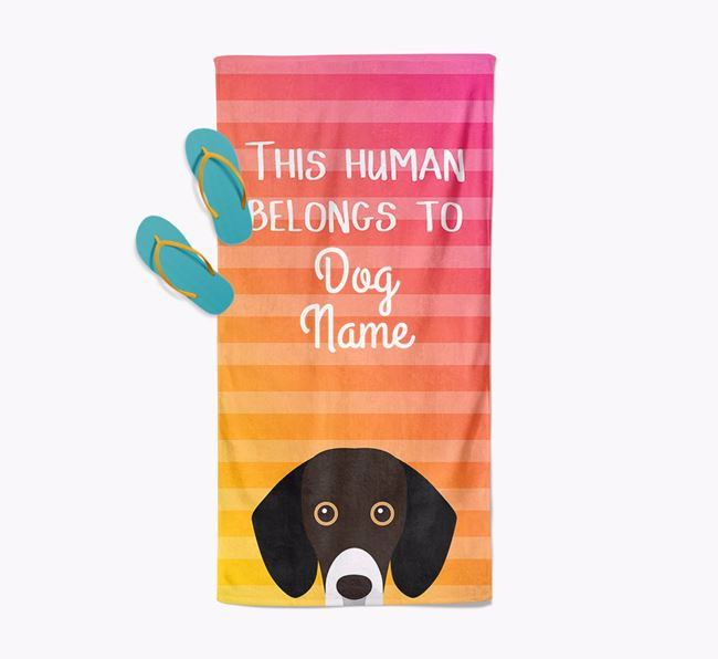 Personalised Pool Towel 'This Human Belongs To Your Dog' with Bassador Icon