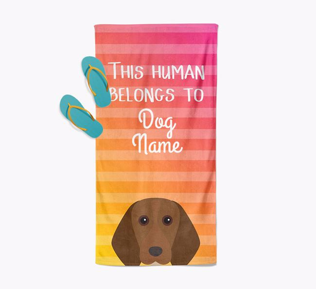 Personalised Pool Towel 'This Human Belongs To Your Dog' with Beagle Icon