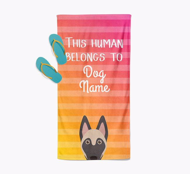 Personalised Pool Towel 'This Human Belongs To Your Dog' with Belgian Malinois Icon