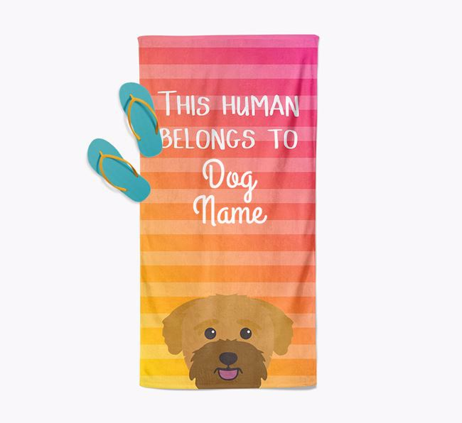 Personalised Pool Towel 'This Human Belongs To Your Dog' with Bichon Yorkie Icon