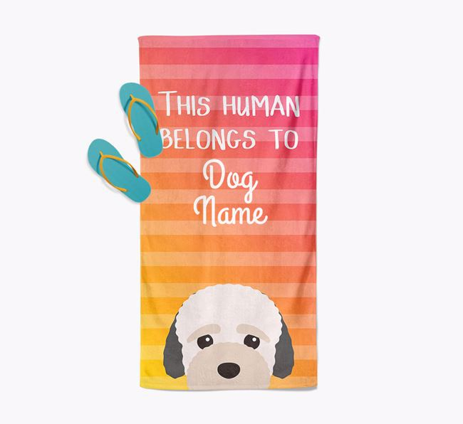 Personalised Pool Towel 'This Human Belongs To Your Dog' with Bich-poo Icon