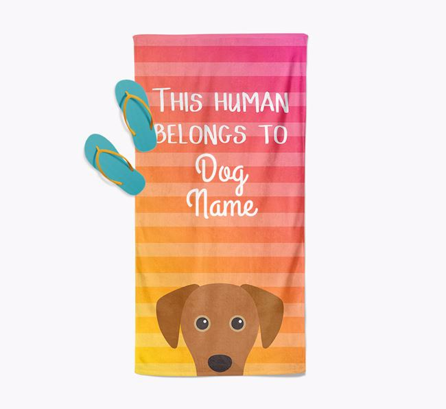 Personalised Pool Towel 'This Human Belongs To Your Dog' with Blue Lacy Icon