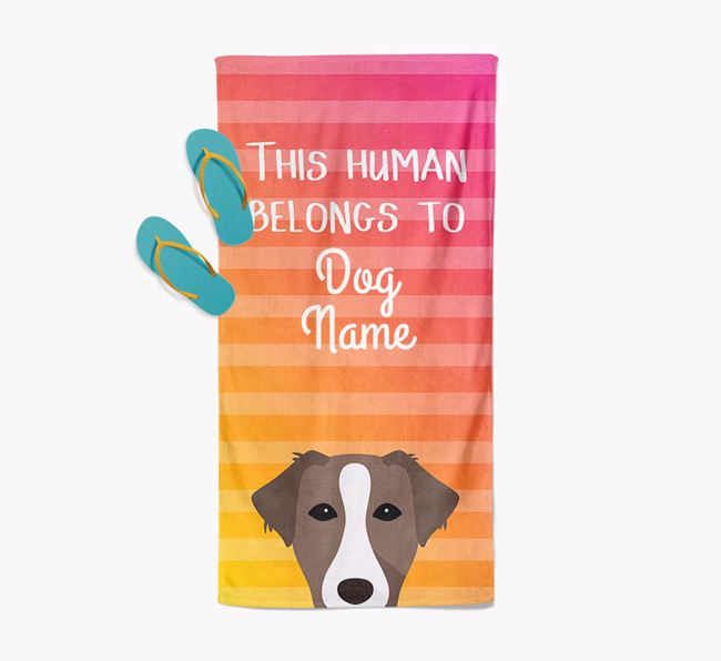 Personalised Pool Towel 'This Human Belongs To Your Dog' with Borador Icon