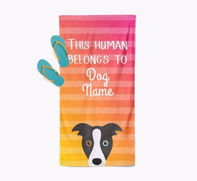 Personalised Pool Towel 'This Human Belongs To Your Dog' with Border Collie Icon
