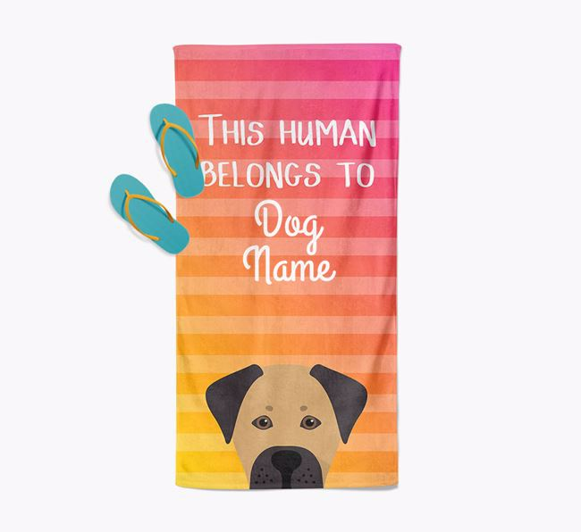 Personalised Pool Towel 'This Human Belongs To Your Dog' with Boxador Icon